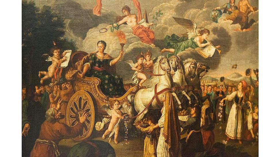 Будучи христианской монархиней, Екатерина охотно представляла себя античным триумфатором и принимала языческие почести