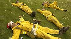 Калифорнийские пожарные после тушения Национального леса Сан-Бернардино, 2003 год