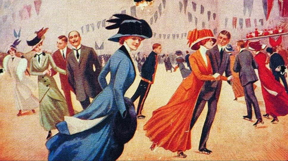 В начале XX века в столичных городах в моду вошли крытые катки для катания на роликовых коньках — скеттинг-ринги, куда приличных дам не водили из-за дурной славы заведений