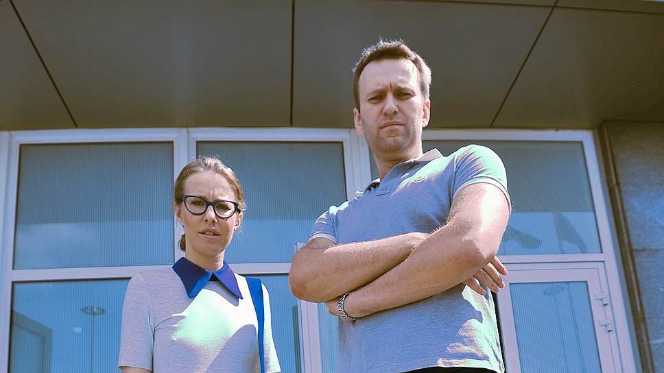 Потенциальный кандидат в президенты, главный редактор журнала L'Officiel Ксения Собчак и основатель ФБК Алексей Навальный