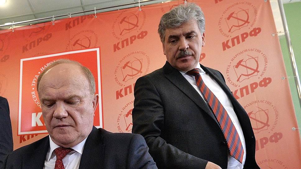 Глава КПРФ Геннадий Зюганов (слева) и директор совхоза имени Ленина Павел Грудинин