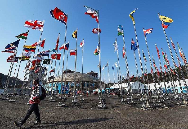 Национальные флаги стран-участниц зимних Олимпийских игр возвышаются на территории Олимпийской деревни