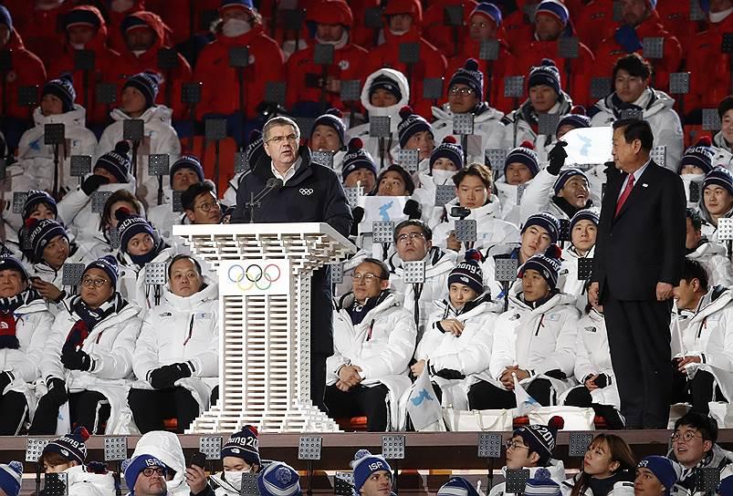 Президент МОК Томас Бах во время открытия Олимпийских игр