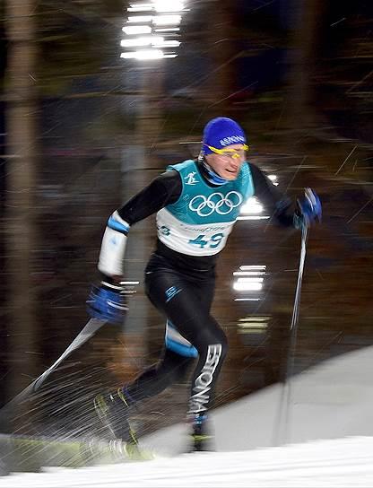 Карел Таммъярв (Эстония) во время лыжной гонки