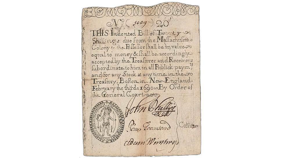Первые бумажные деньги в США стал выпускать штат Массачусетс в конце XVII века, правда, долларами они еще не были, а назывались по привычке шиллингами и фунтами
