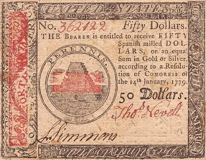 Доллары, которые в 1775 году начал печатать Континентальный конгресс, за шесть лет обесценились в 150 раз