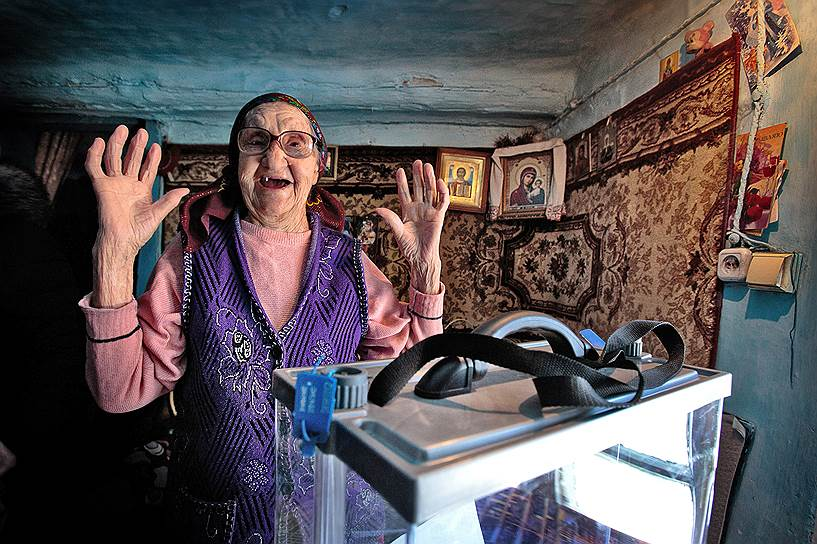 Голосование на выборах президента РФ в селе Сосновка, Искитимского района , Новосибирской области