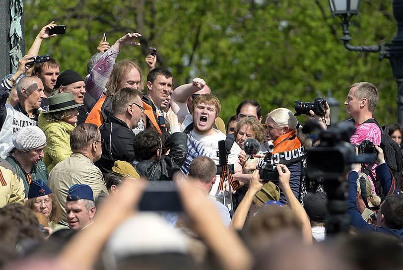 Москва. На Пушкинской площади одновременно собрались активисты Национально-освободительного движения