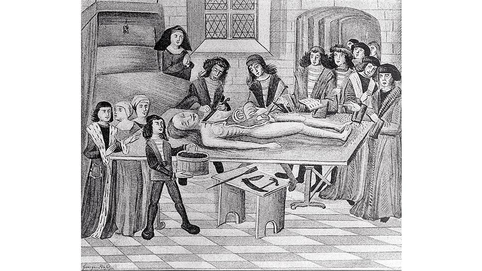 Во французской средневековой медицинской школе в Монпелье уроки анатомии были одними из самых важных