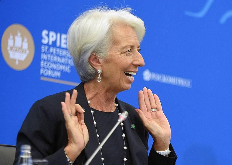 Управляющий директор Международного валютного фонда (МВФ) Кристин Лагард во время сессии «Российская экономика на траектории роста: вызовы и решения»