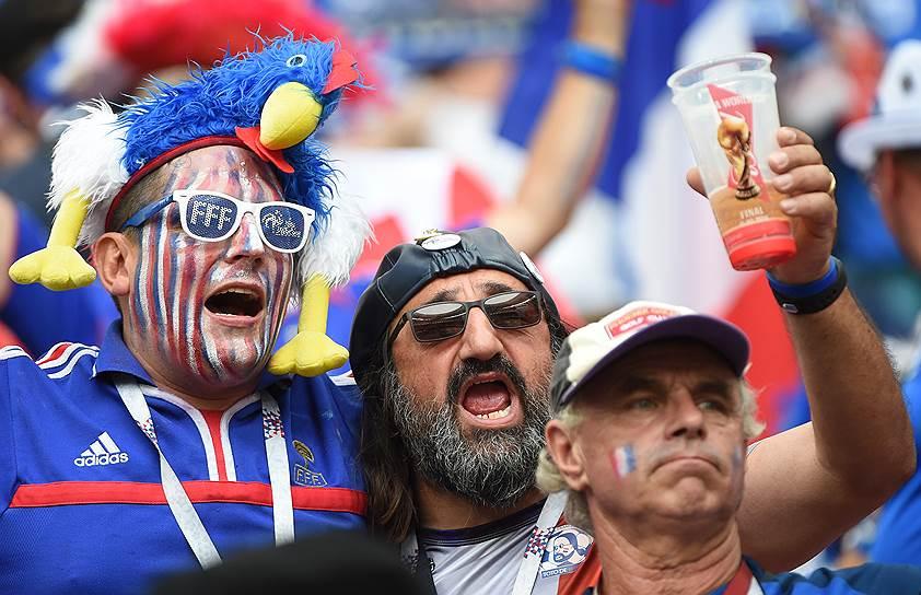 Французские болельщики во время матча
