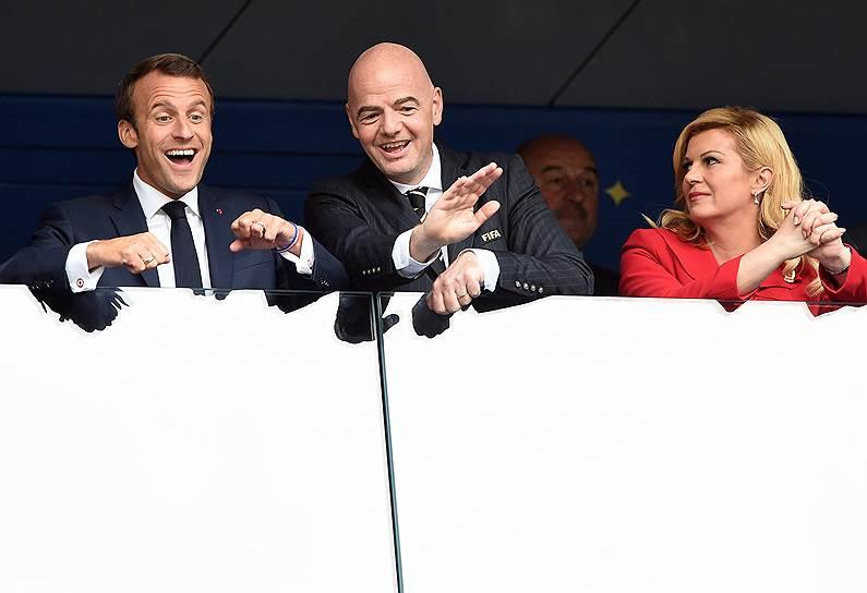 Слева направо: президент Франции Эмманюэль Макрон, президент FIFA Джанни Инфантино и президент Хорватии Колинда Грабар-Китарович
