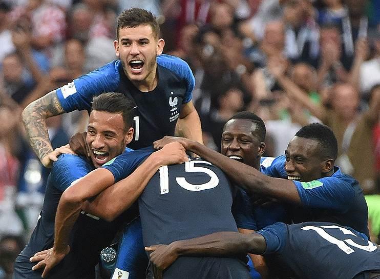 Игроки сборной Франции во время финального матча ЧМ – 2018