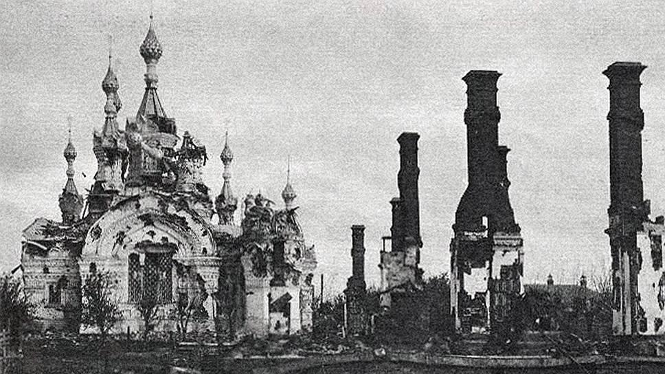 Из-за того, что Ярославль обстреливали зажигательными снарядами, от деревянных домов оставались только печки