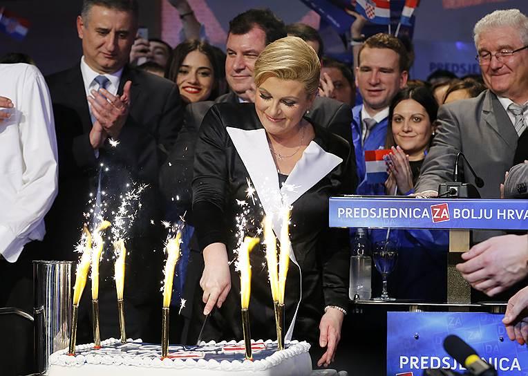 Колинда Грабар-Китарович после победы на президентских выборах, 2015 год