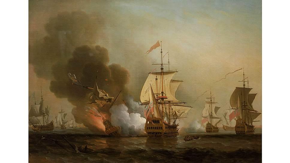 На картине Самюэля Скотта изображен момент взрыва на корабле «Сан-Хосе» — «Святом Граале кораблекрушений»
