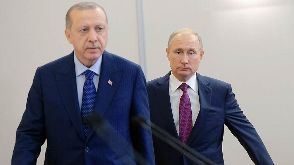 Президент Турции Реджеп Тайип Эрдоган (слева) и президент России Владимир Путин