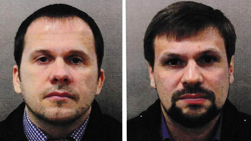 <strong>Александр Петров (слева) и Руслан Боширов (справа), подозреваемые в отравлении Скрипалей </strong><br> Снимки обнародованы британским следствием. По версии Скотланд-Ярда, указанные лица — сотрудники ГРУ, прибывшие в Великобританию 2 марта под вымышленными именами. По данным следствия, 4 марта они посетили Солсбери, обработали ручку двери дома Скрипалей «Новичком» и в тот же день вернулись в Россию. Передвижения их зафиксированы уличными камерами