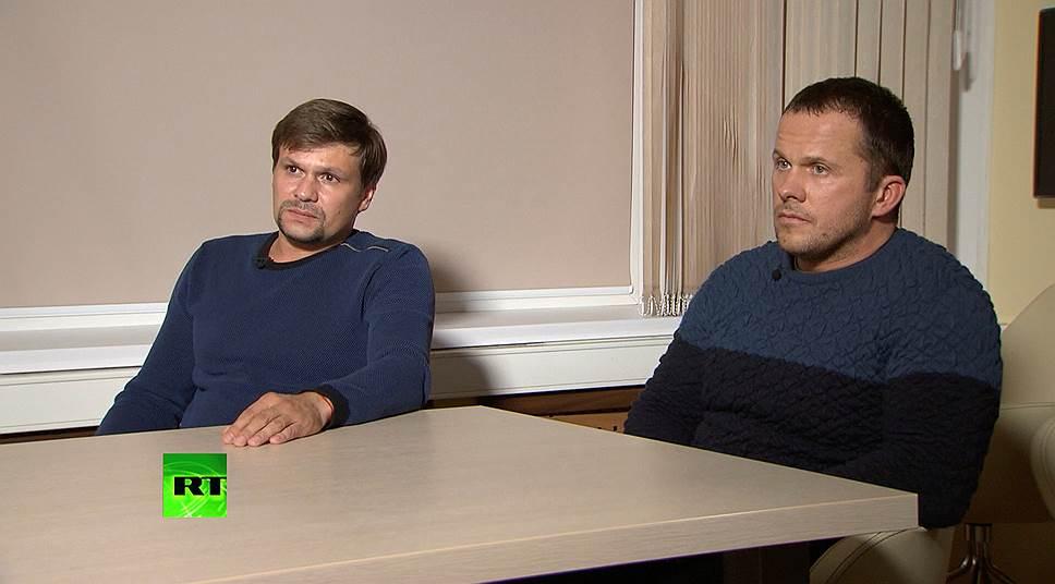 В интервью Петров и Боширов заявили о непричастности к спецслужбам и отравлению. Они рассказали, что прибыли в Британию как туристы («оторваться» и посмотреть собор в Солсбери), а сами работают в индустрии фитнеса. В конце интервью они попросили «оставить их в покое»