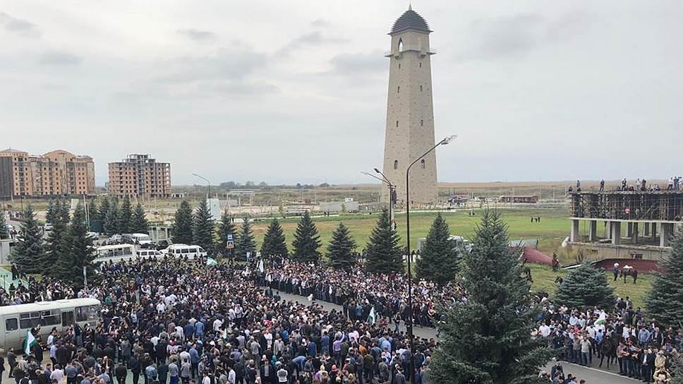 Как начался митинг протеста в Ингушетии