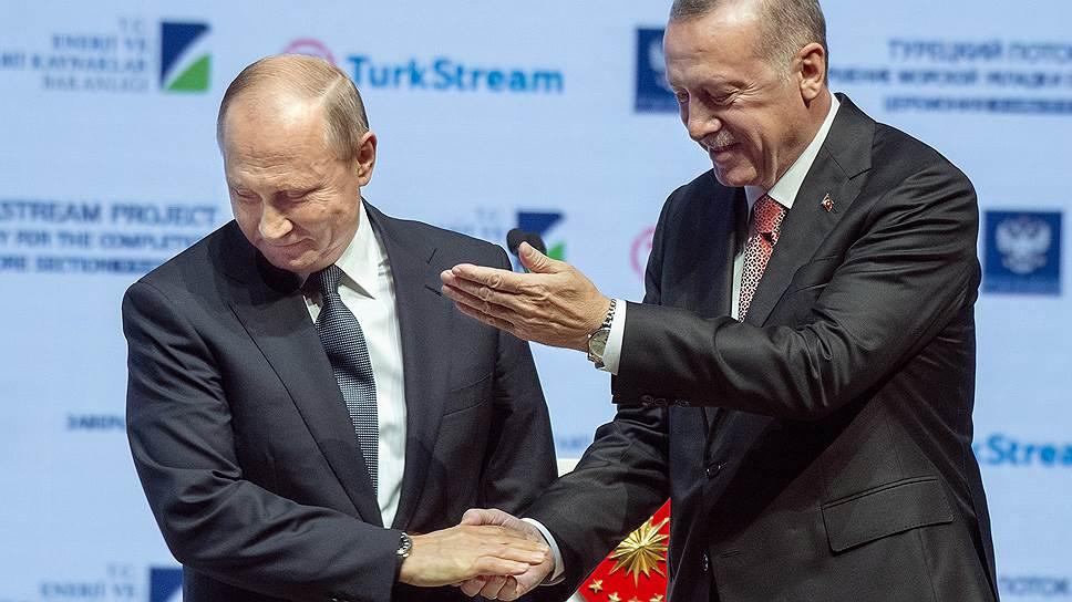 Президент Турции Реджеп Эрдоган (справа) и президент России Владимир Путин