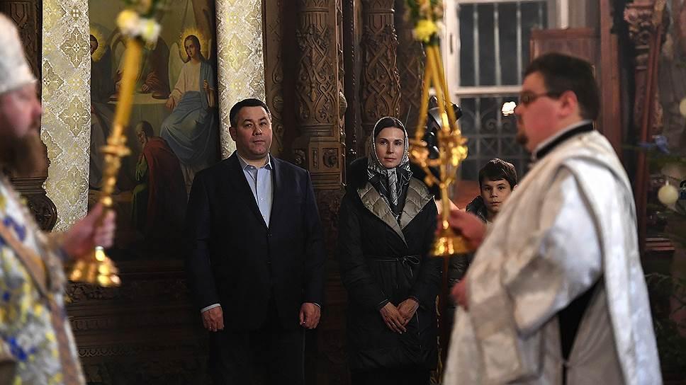 Губернатор Игорь Руденя в храме с семьей