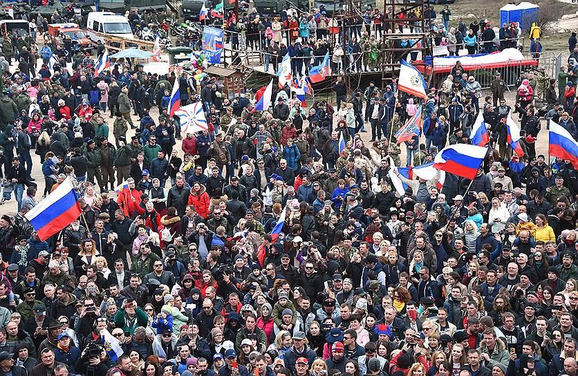 Участники праздничных мероприятий, посвященных пятилетию «Крымской весны» в Севастополе