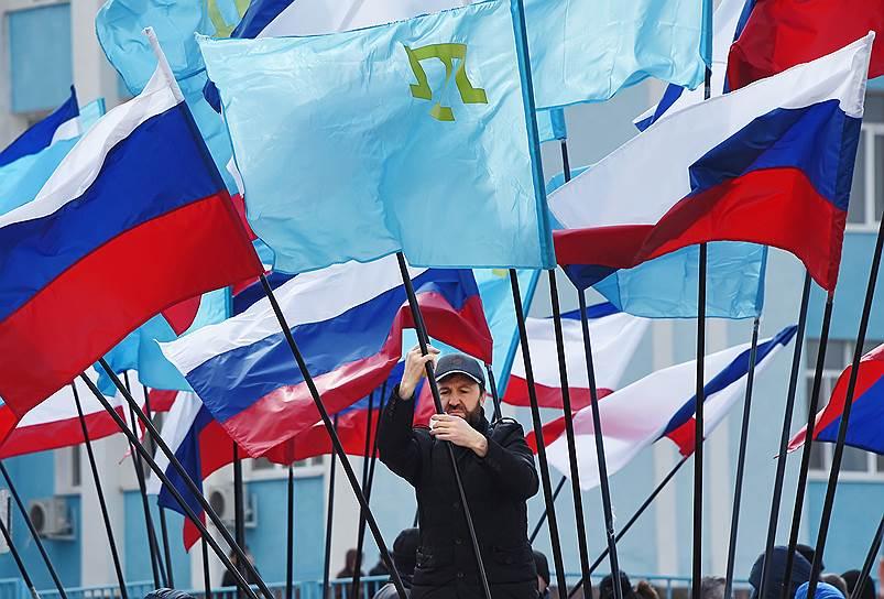 Фестиваль «Крымская весна» в честь пятой годовщины воссоединения Крыма с Россией прошел в микрорайоне «Фонтаны» (Симферополь)