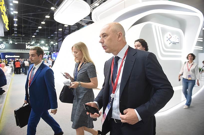 Первый вице-премьер — министр финансов Антон Силуанов во время форума в Конгрессно-выставочном центре «Экспофорум»