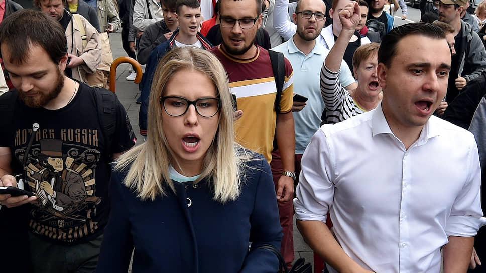 Незарегистрированные кандидаты в Мосгордуму Любовь Соболь и Иван Жданов
