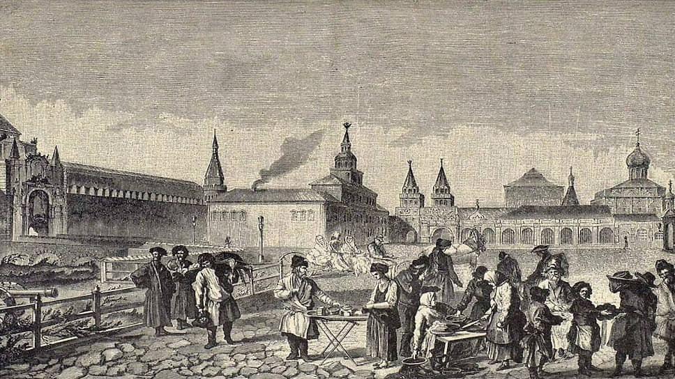 Во время постов блюда из гороха пользовались особым спросом (на гравюре — уличный торг у Кремля в конце XVIII века)