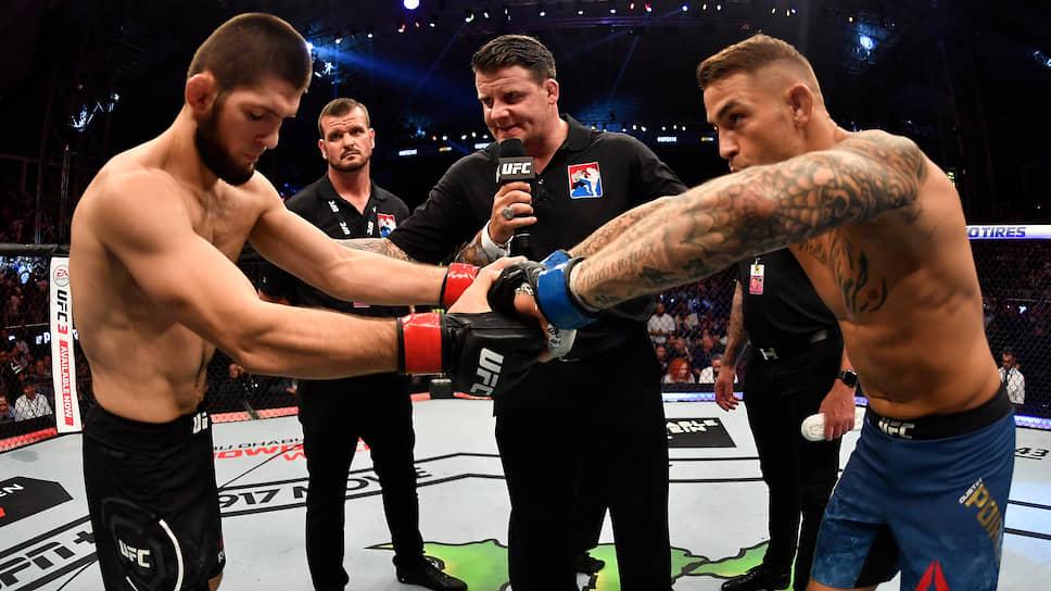 Поединок между бойцами стал первым для Хабиба Нурмагомедова после дисквалификации
