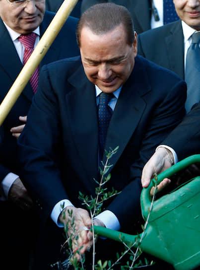 2010 год. Премьер-министр Италии Сильвио Берлускони моет руки после посадки дерева в Роще Наций в Иерусалимском лесу