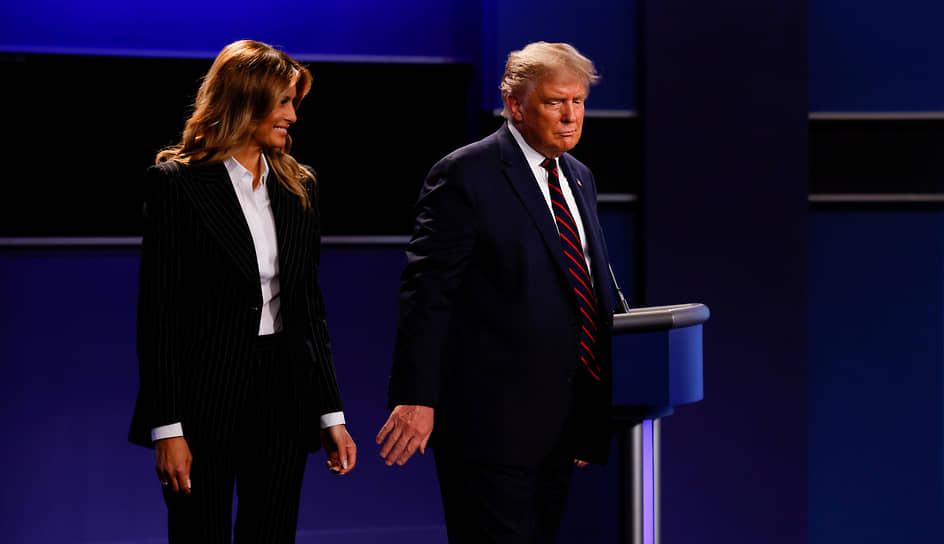 2020 год. Президент США Дональд Трамп с супругой Меланией после дебатов кандидатов в президенты в Кливленде