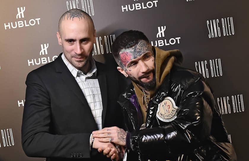 Татуировщик Максим Буши (слева) во время коктейля часовой компании Hublot и компании Mercury по случаю презентации лимитированной серии часов в ЦУМе