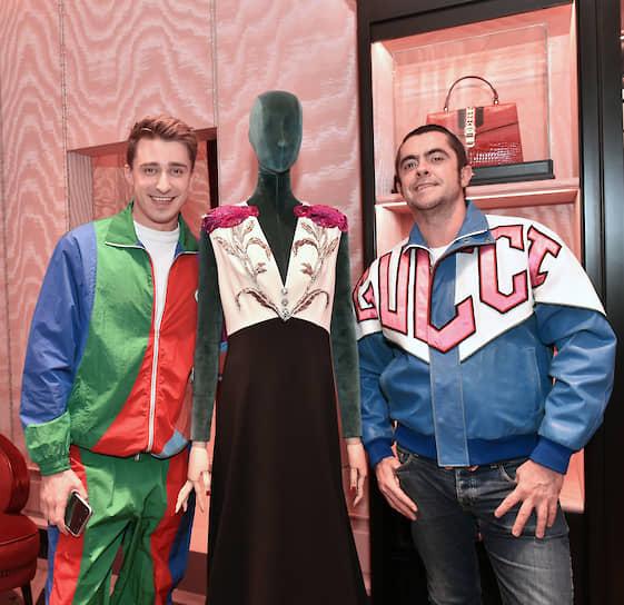 Актер Артем Королев (слева) на коктейле, посвященном открытию бутика Gucci в галерее «Времена года»