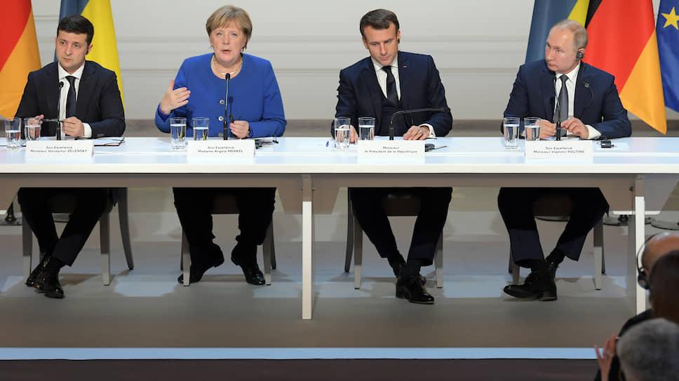 Слева направо: президент Украины Владимир Зеленскиий, канцлер Германии Ангела Меркель, президент Франции Эмманюэль Макрон и президент России Владимир Путин