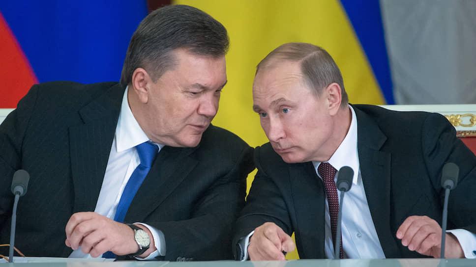 Президент Украины Виктор Янукович (слева) и президент России Владимир Путин (справа)