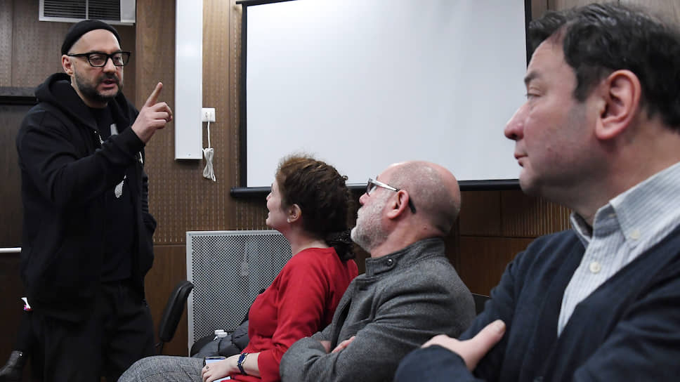 Слева направо: режиссер Кирилл Серебренников, директор РАМТ Софья Апфельбаум, бывший директор «Гоголь-центра» Алексей Малобродский и бывший генеральный директор «Седьмая студия» Юрий Итин