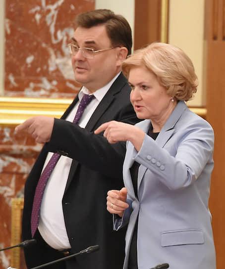 Вице-премьеры Константин Чуйченко и Ольга Голодец перед заседанием правительства