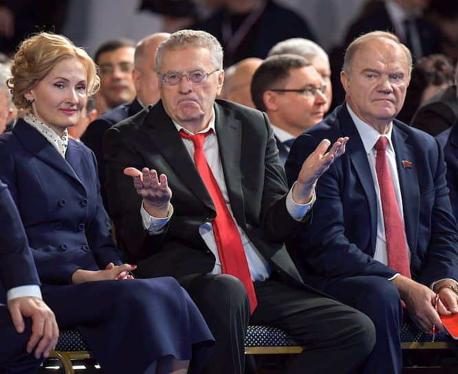 Слева направо: зампред Госдумы Ирина Яровая, лидер ЛДПР Владимир Жириновский и лидер КПРФ Геннадий Зюганов