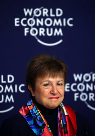 Директор-распорядитель Международного валютного фонда Кристалина Георгиева на пресс-конференции в преддверии форума. 18 января на выступлении в Институте мировой экономики Петерсона она заявила, что мировой экономике грозит новая Великая депрессия из-за всеобщего неравенства и нестабильности финансового сектора