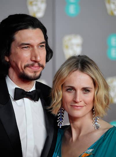 Номинант на «Лучшего актера» за фильм «Брачная история» Адам Драйвер с супругой актрисой Джоан Такер