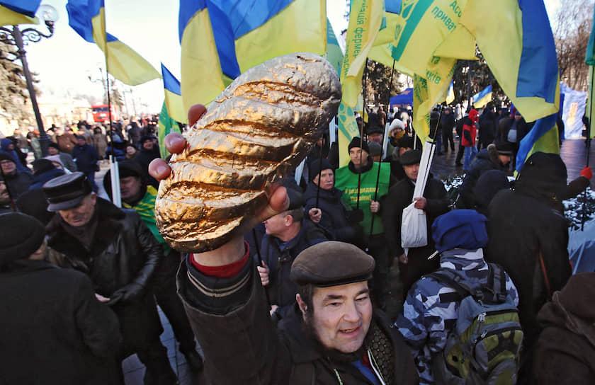 Киев, Украина. Митинг у Верховной рады против законопроекта, отменяющего мораторий на продажу сельскохозяйственных земель
