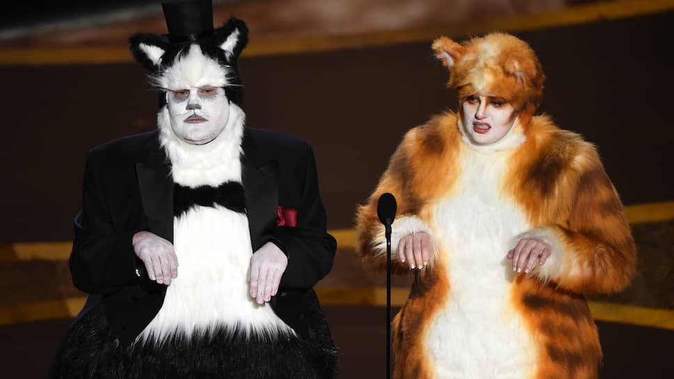 Телеведущий Джеймс Корден и актриса Ребел Уилсон представляют номинацию «Лучшие визуальные эффекты»
