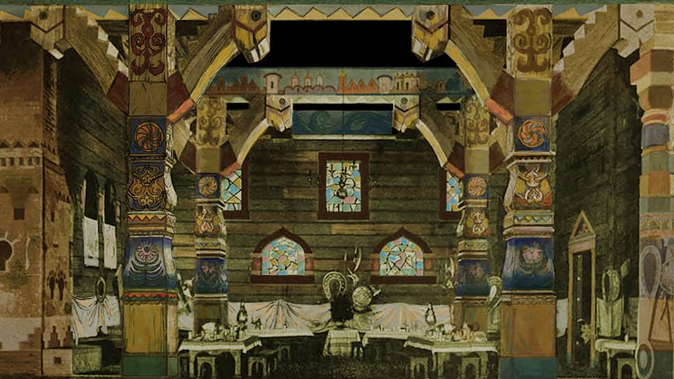 Аполлинарий Васнецов. «Гридня. Братчина». Эскиз декораций к «Садко» в Мариинском театре (1900)