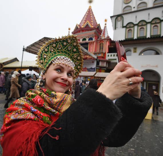 Празднование Масленицы на территории Измайловского Кремля в Москве