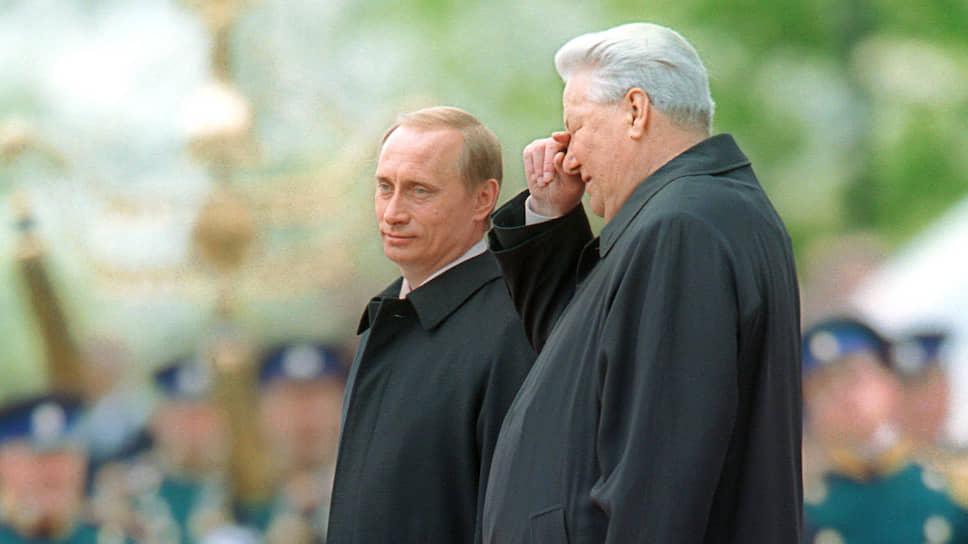 Инаугурация президента Владимира Путина. Первый президент России Борис Ельцин (справа) и господин Путин (слева) в Кремле