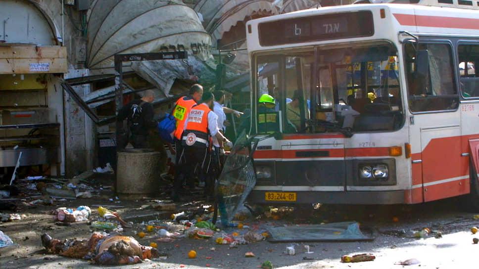 Последствия теракта на рынке в самом центре Иерусалима, 2002 год