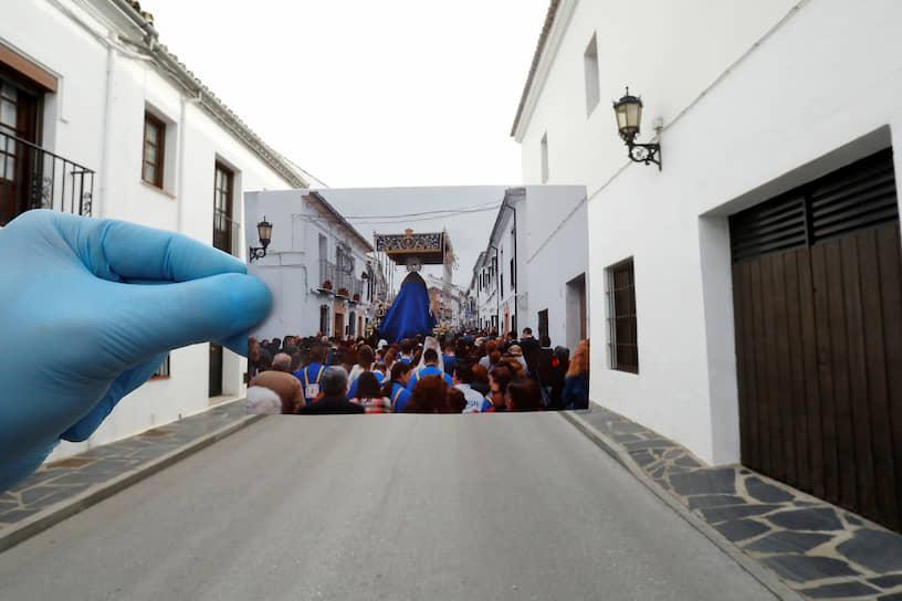 Ронда, Испания. Фотография религиозной процессии в первый день католической Страстной недели